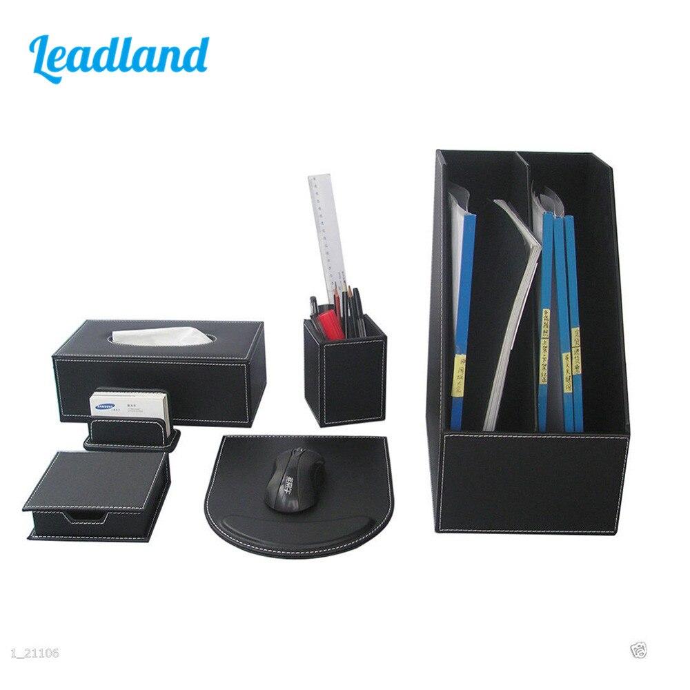 Kingfom 6pcs Professional Office Desktop Organizer Set Includes Pen Pencil Cup Magazine Rack Tissue box T92H