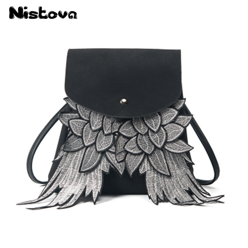 Girls Cute Backpack Woman Wing Design School Bag Boys Daypack Shoulder Bag Ladys Purse With Angel Wings