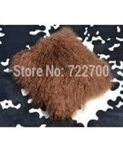 2016 Real Tibetan lamb pillow cover Mongolian Fur Pillow 17″x17″ Decorative Pillows Cushions Home Decor Chair Seat Cushions New