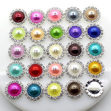 ZMASEY 10pcs/Lot 15mm Pearl Wedding Diamond buttons Factor Outlets Rhinestones buttons DIY Hair Accessory Decorative button(China)