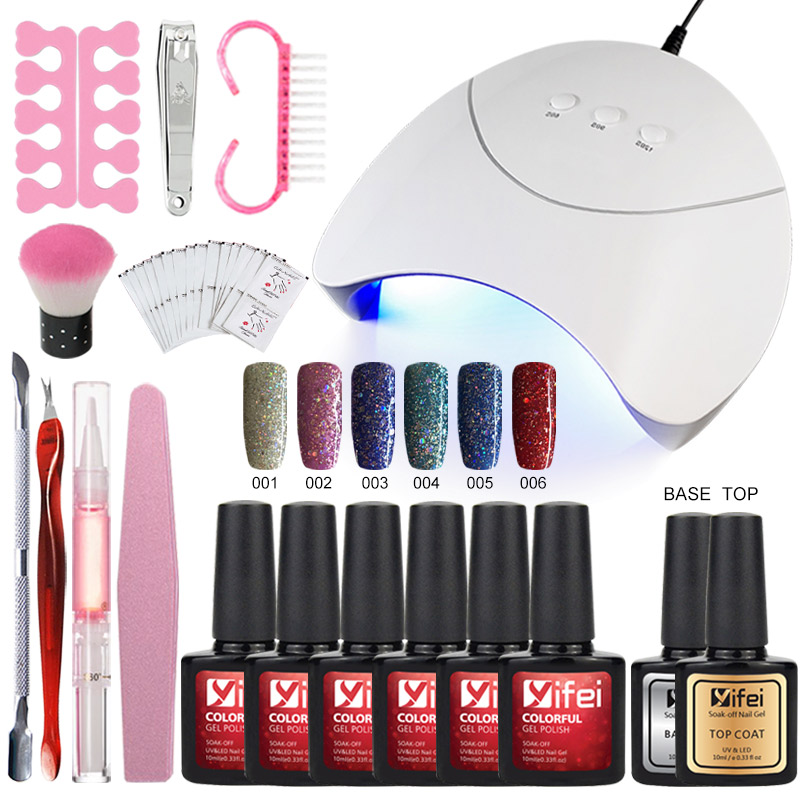 YIFEI Nail Art Tools Kit Full Set 36w UV Lamp Dryer With 6pcs Nail Gel Polish Top Base Coat Manicure Set & Kits Nail Polish Set full uv gel nail art nail polish 36w nail uv lamp dryer tools eu plug set