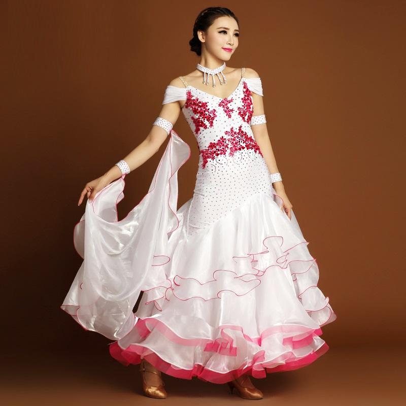 Show details for Adult White Boutique Rose Hand-Sewn Rhinestone Standard Ballroom/Waltz/Tango/Foxtrot Modern Dance National Competition Dress