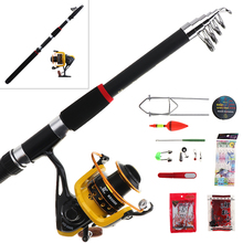 15pcs 2.7m Fishing Rod Reel Combos Full Kit Telescopic Spinning Pole Lure Line Hook Track Tool Set sougayilang telescopic fishing rod with spinning reels combos fishing reel pole lure line bag sets kit for travel fishing tackle
