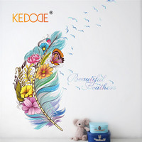Kolor piór KEDODE motyl ptak naklejka ścienna home decor salon wall decal diy mural art plakat tanie tapety pcv