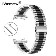 Pulseira de aço inoxidável + adaptador sem gap, liberação rápida, para samsung galaxy watch 46mm gear s3 band, prata e preta pulseira com alça