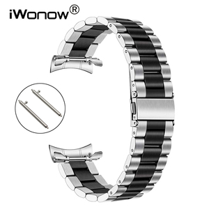 Image 1 - Quick Release Stainless Steel Watchband + No Gap Adapter for Samsung Galaxy Watch 46mm Gear S3 Band Silver Black Strap Bracelet