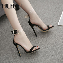 Black Peep Toe Womens Sandals 2019 Summer New Arrival Fashion Sexy thin High Heels Buckle Suede Solid Color Shoes