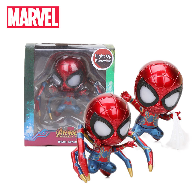 9-10cm Marvel Toys Avengers Infinity War Light Up Iron Man Iron Spiderman PVC Action Figures Spider-man Bobble Head Model Toy(China)