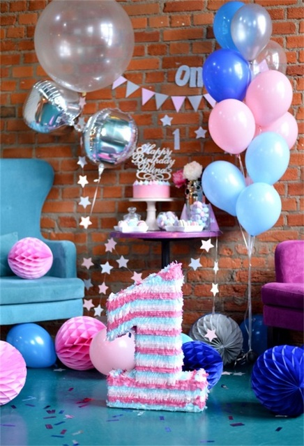 Laeacco Balloons Number 1 Year Old Birthday Party Scene Baby Photography Backdrops Custom Photo Studio Photographic