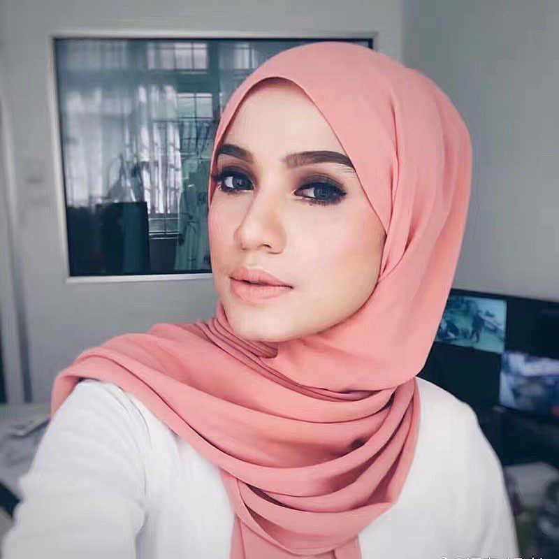 """2018 לגרום לנשים שיפון חיג 'אב ראש מוסלמי צעיף לעטוף צעיף 200*78 ס""""מ ארוך מחוייט אפריקאי פשוט צבע זמין סגנון"""