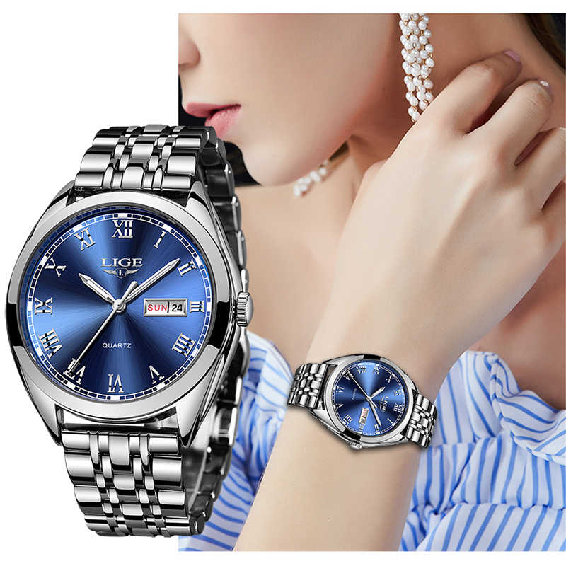 Reloj Women Dress Watch Stainless Steel LIGE Top Brand Fashion Ladies Wristwatch Week Date Quartz Clock Female Luxury Watches