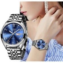 Reloj Women Dress Watch Stainless Steel LIGE Top Brand Fashion Ladies Wristwatch Week Date Quartz Clock Female Luxury Watches