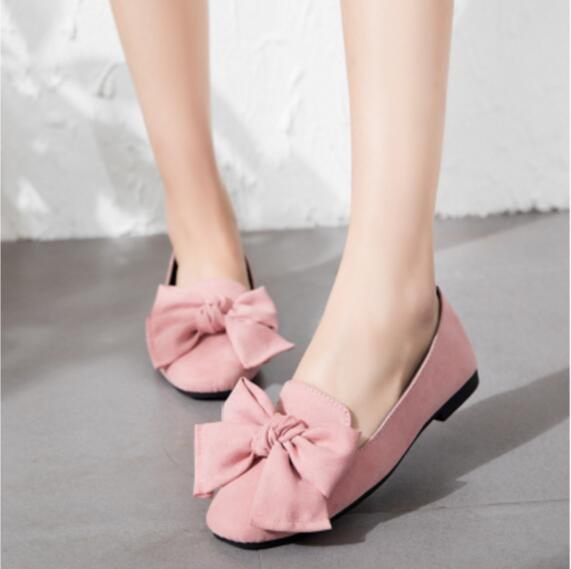 2017 spring and summer new fashion women's shoes flat with flat women bow tie work shallow mouth flat shoes free shipping spring and summer sweet little tip side empty with suede bow with the women s singles shoes