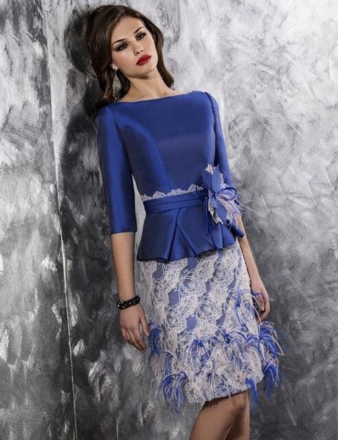 Новое поступление короткие синий аппликации v-обратно мать невесты платья с перьями длиной до колен формальных мать платья MD33