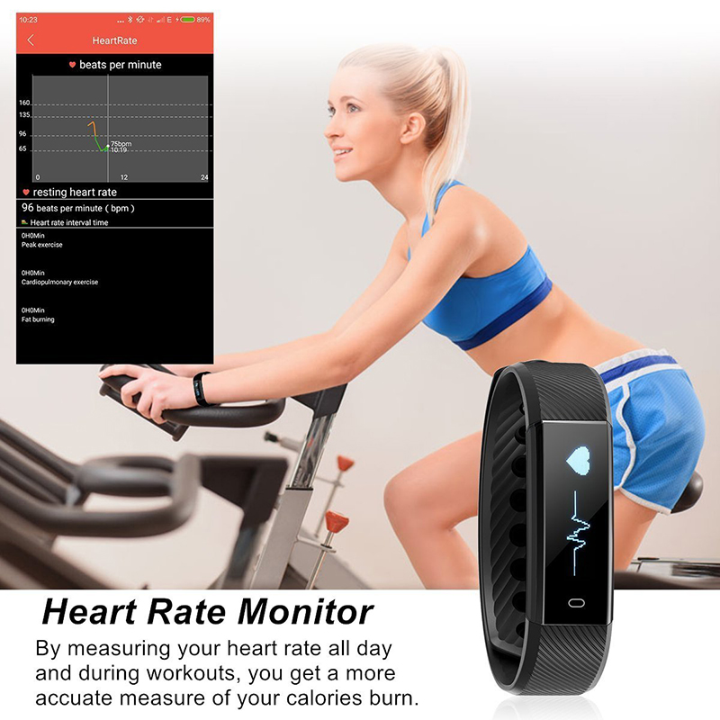 Smart Fitness Watch ID115HR Heart Rate Monitor Smart Band Wristband Black Pink Blue Bracelet Activity Tracker for xiaomi iphone