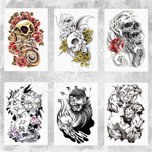 Body Art Beauty Makeup Pink Sexy Dangerous Sexy Skull Tattoo 3D Waterproof Temporary Tattoo Stickers Sexy