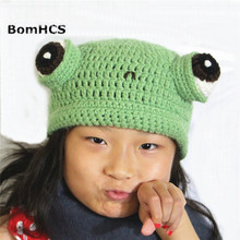 цены на BomHCS Cute Frog Hat with Big Eyes Handmade Knitted Winter Thick Warm Beanie Cap Funny Christmas Halloween Gift  в интернет-магазинах