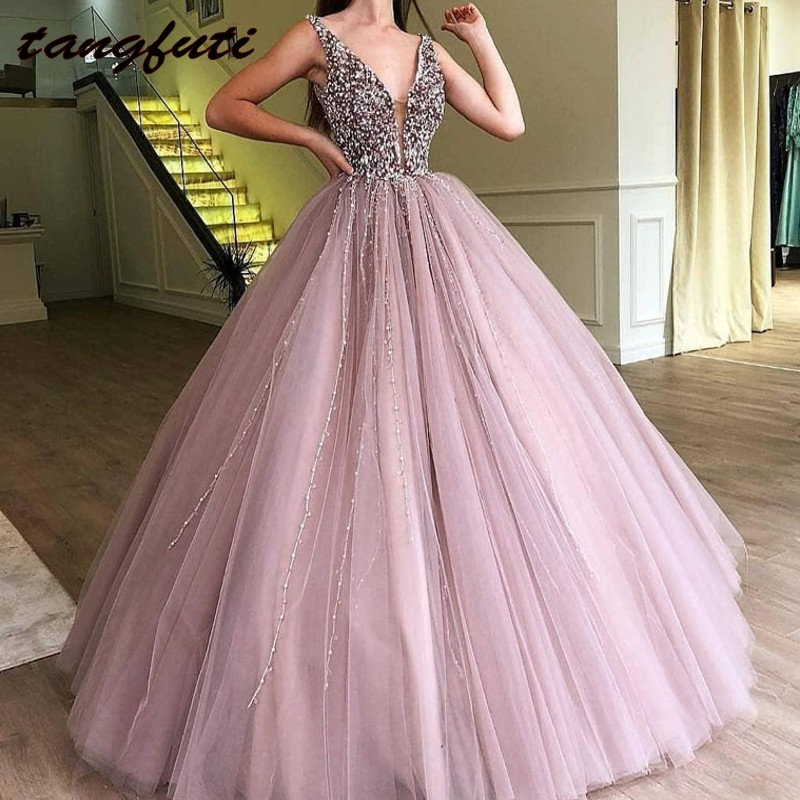 Luxury Ball Gown Quinceanera Dresses V Neck Sequin Beads Sweet 16 Dress Tulle Skirt Long Teen Girls Pageant Dress Prom Party
