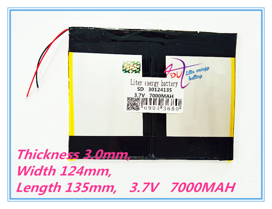 polymer lithium ion battery 30124135 3.7V 7000MAH With plug For CH, Tablet PC Battery , Perfect quality of lar 3 7v 12000mah 1640138 combination rechargeable lipo polymer lithium li ion battery for power bank tablet pc laptop pad pcm board