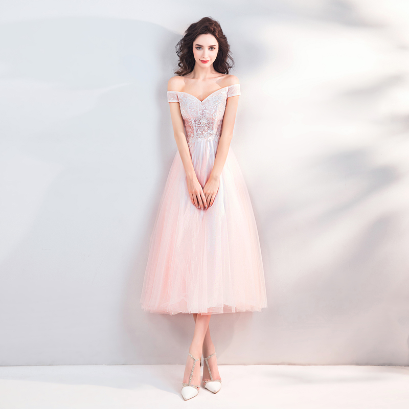 SSYFashion New Sweet Light Pink Cocktail Dress Boat Neck Tea length Lace  Appliques Beading Party Formal Gown Robe De Soiree-in Cocktail Dresses from  ... ccb1117662ef