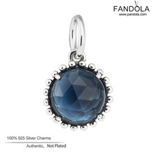 Top Quality 925 Sterling Silver Beads Midnight Blue Crystal Dangle Charms for DIY Charms Bracelet Jewelry Making Berloque