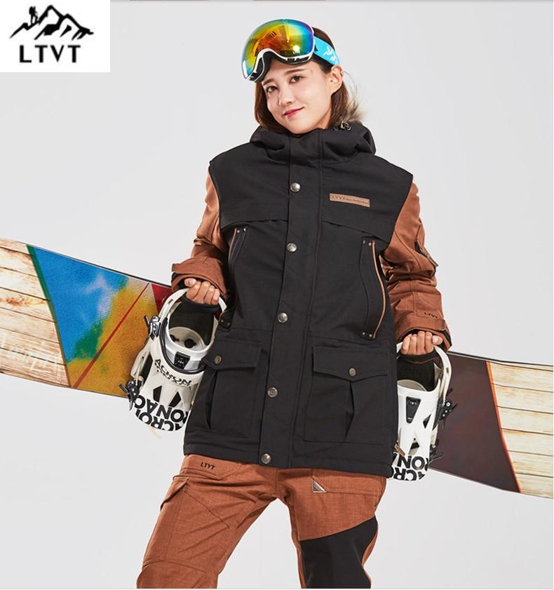 LTVT Double Board Female Ski Suit Couple Single Double Board Waterproof Thick Hanging Strap Detachable Slim Fit Women Ski Set