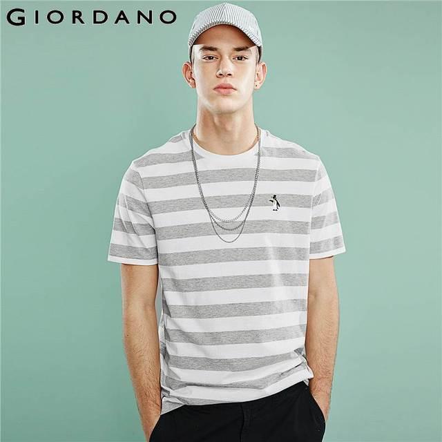 ジョルダーノ男性 Tシャツ男性ストライプ刺繍パターンソフト品質綿 O ネックブランド夏の Tシャツ半袖 Tシャツ