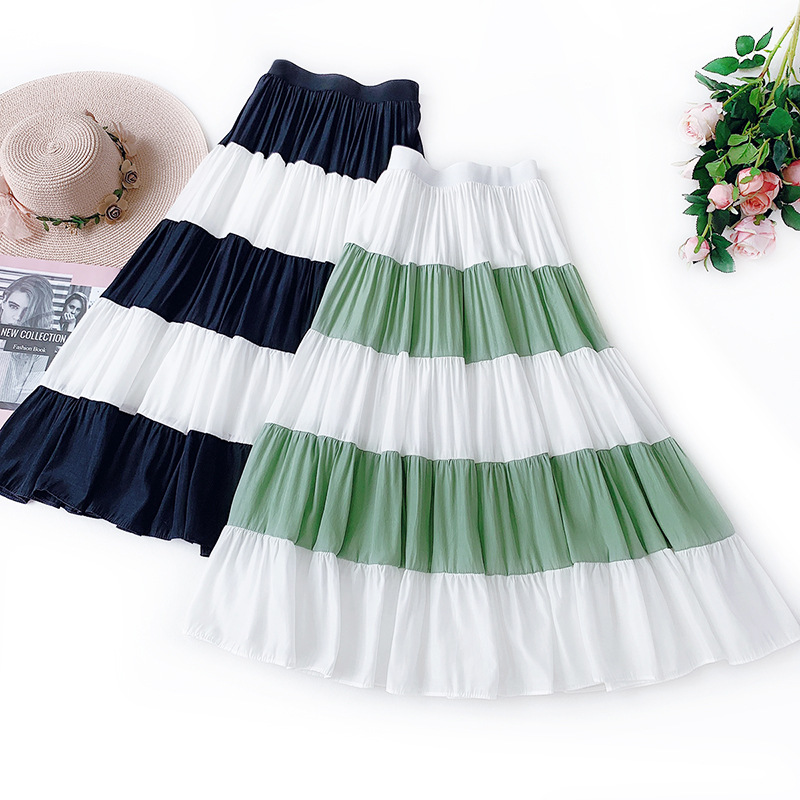 Wasteheart Green Women Skirt Women High Waist Pleated Long Skirt Ball Gown Skirt Plus Size Casual Asymmetrical Ankle-Length