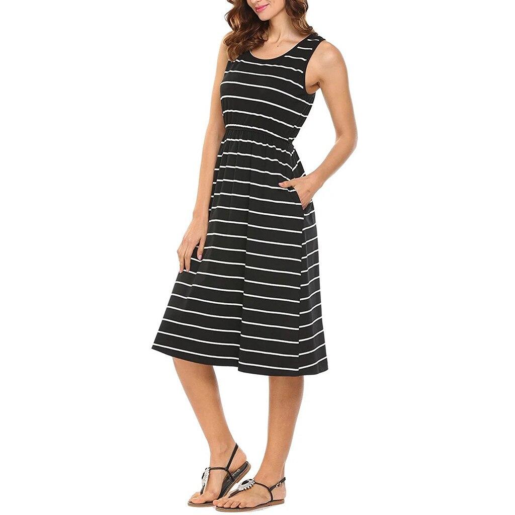New Dresses 2019 Women's Casual O-Neck Sleeveless Loose Striped Knee Length Dress With Pocket Dresses Female Vestidos