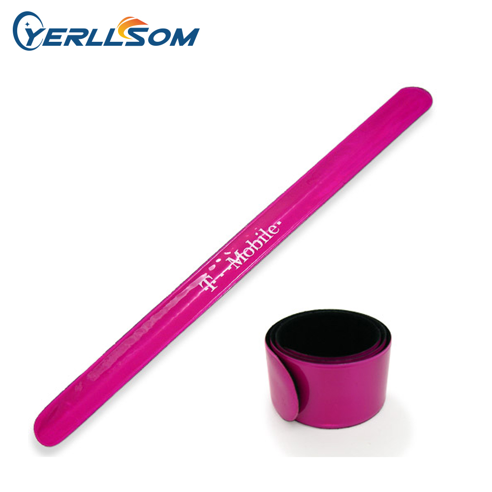 Free Shipping 300pcs 3 30cm Customized Personalized Printed 1 color Logo Reflective Slap Bracelets For Gifts