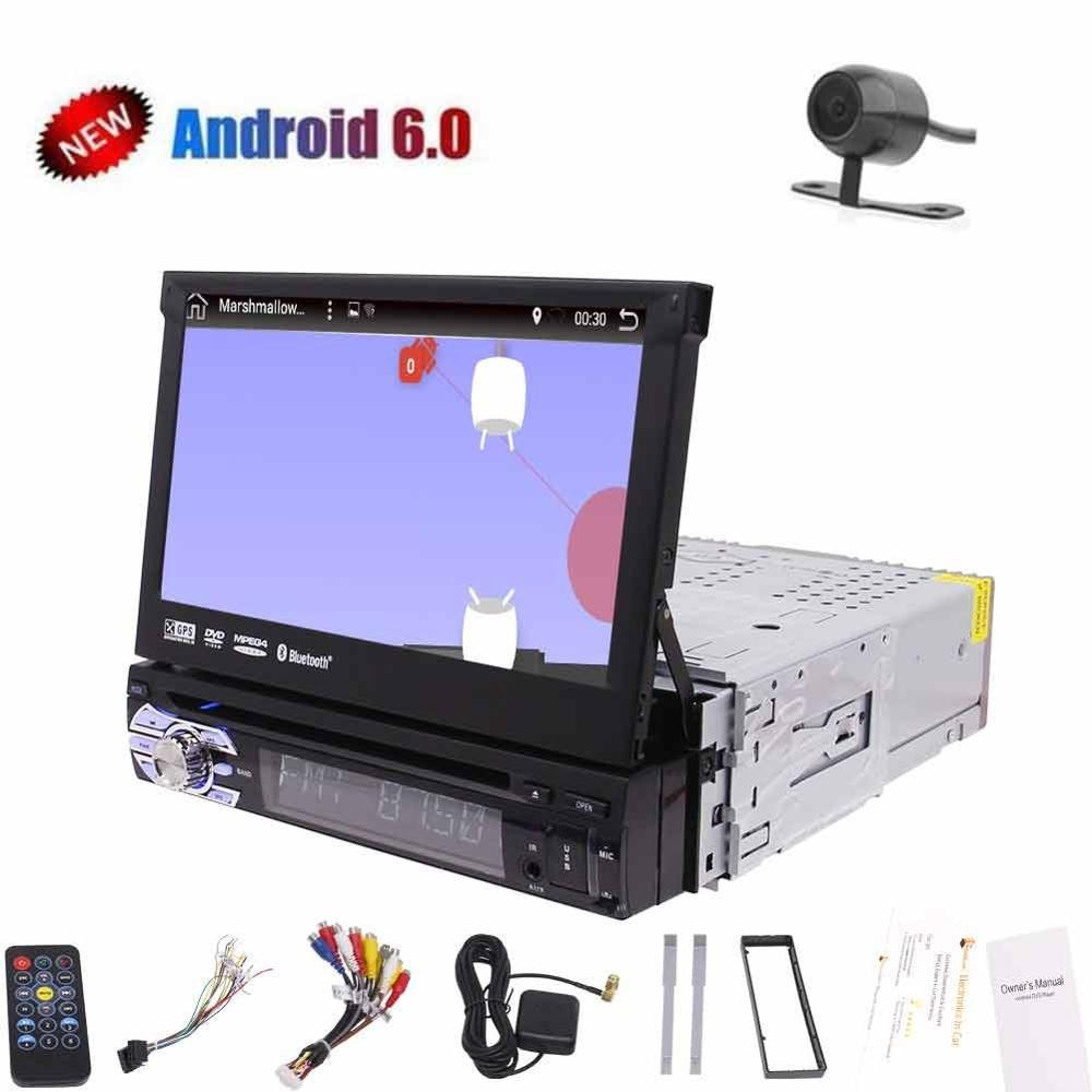 7 inch single din android 6.0 1080P HD video car gps cd dvd player car GPS Navigation Digital TFT wifi Free rearview mirror came ...