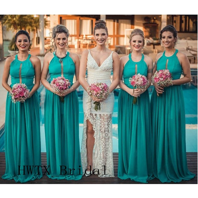 US $71.2 20% OFF|Turquoise Chiffon Cheap Bridesmaid Dresses 2019 New Plus  Size A Line Long Country Beach Wedding Guest Dress Maid Of Honor Gowns-in  ...