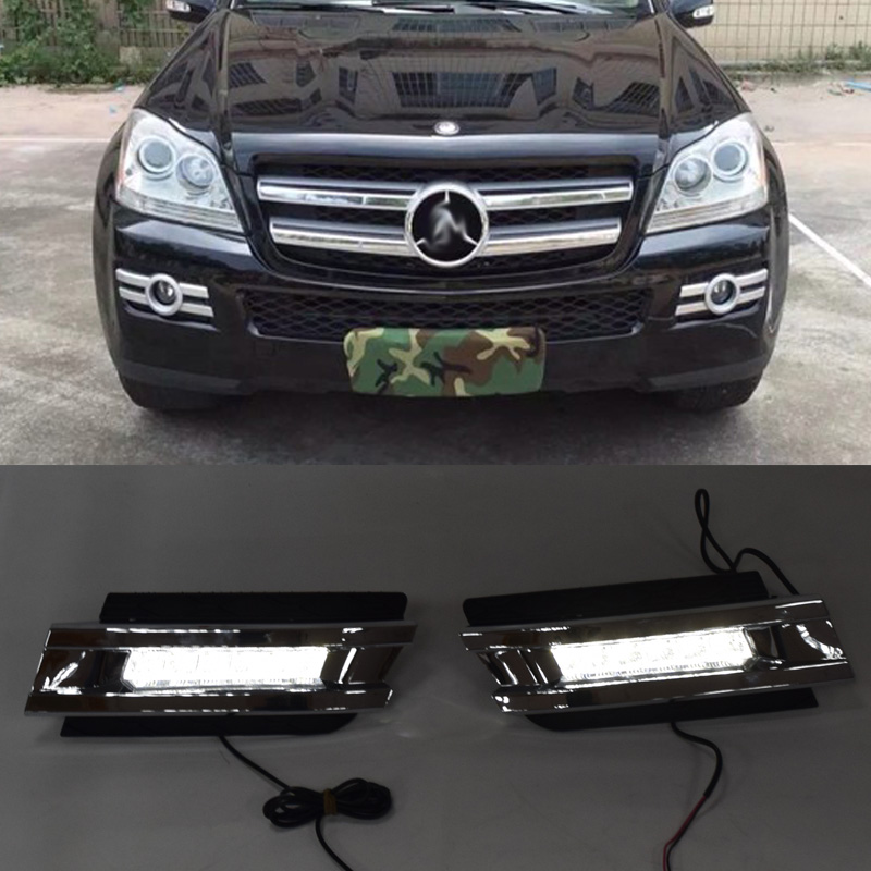 QINYI 1 set For Mercedes Benz X164 GL320 GL350 GL450 2006 2007 2009 LED DRL Daytime Running Lights With ABS fog lamps CoverQINYI 1 set For Mercedes Benz X164 GL320 GL350 GL450 2006 2007 2009 LED DRL Daytime Running Lights With ABS fog lamps Cover