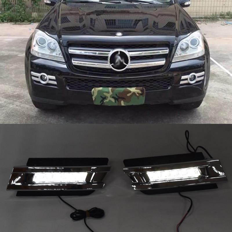 QINYI 1 set pour Mercedes Benz X164 GL320 GL350 GL450 2006 2007 2009 LED DRL feux de jour avec ABS feux de brouillard couverture
