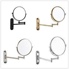 Зеркало для макияжа, латунное черное зеркало для ванной комнаты, 3 x увеличительное зеркало, складное бритье, 8 дюймов, настенные 360 вращающиеся круглые зеркала