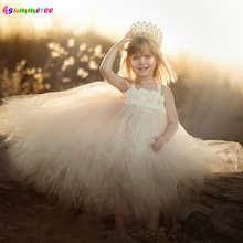 Ivory Wedding Flower Girls Tutu Dress Vintage Rhinestone Kids Birthday Pageant Party Photo Shoots Clothes Children Tulle Dress fashion rhinestone infant children s wedding party wear layers red white royal blue cupcake pageant dress