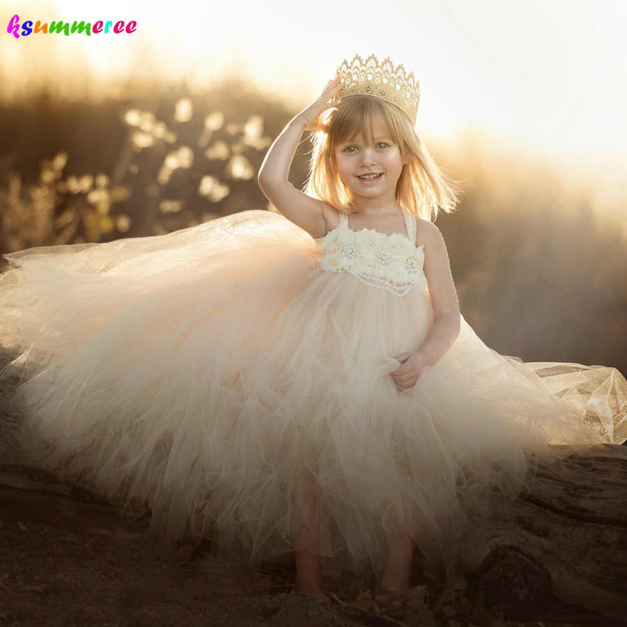 a5ccef26e Ivory Wedding Flower Girls Tutu Dress Vintage Rhinestone Kids Birthday  Pageant Party Photo Shoots Clothes Children