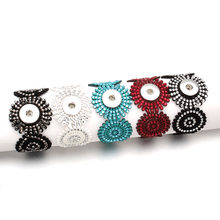 20CM Snap Bracelet Black Hollow PU Leather Bracelet Fit 18mm Snap Button Bracelet Bohemia Style For Women Snap Jewelry ZE498(China)