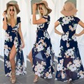 Свадебные платья платья женщин элегантный Сплит Цветочный пляж летнее платье ультра идеально фея V-образным Вырезом сексуальное платье макси шифон длинное платье S-XL