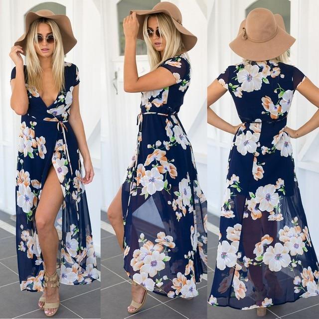 Vestidos women dress elegant Split Floral beach summer dress ultra perfect fairy V-neck sexy maxi dress chiffon long dress S-XL