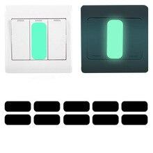 10 piezas rectángulo luminosa etiqueta engomada del interruptor resplandor en el oscuro pared etiqueta engomada fluorescente calcomanías útil chico Noche de luz decoración