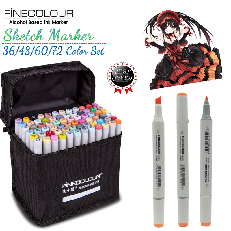 FINECOLOUR Artist Double Headed Sketch Marker Pen Set 36 48 60 72 Colors Alcohol Based Manga Art Markers for Design Supplies sketch color marker pen finecolour architecture alcohol based art markers 36 48 60 72 colors set manga marker for drawing