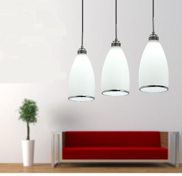 3 k pfe lampen moderne pendelleuchten esszimmer lampe restaurant glas lampe wei glas sch rfen. Black Bedroom Furniture Sets. Home Design Ideas