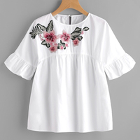 Floral Embroidered Ruffle Sleeve Babydoll Blouse Women 2017 Summer Short Sleeve Blouses Shirts Woman Vintage Tops
