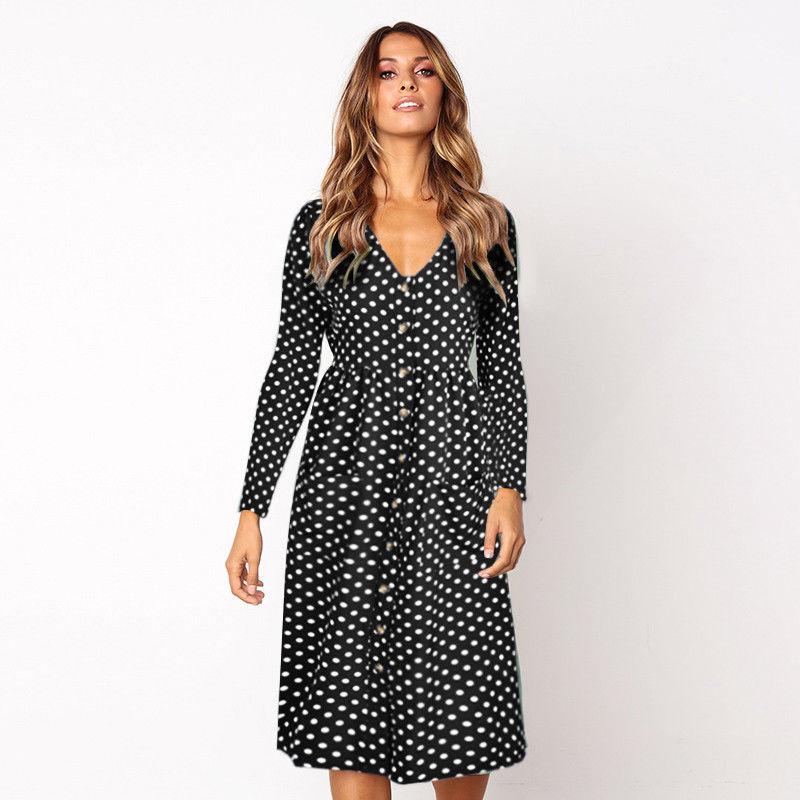 Newest Fashion Women V Neck Polka Dot Buttons Long Sleeve Dress High Waist Pop Dresses polka dot