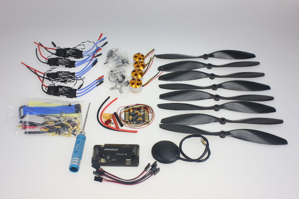 F02015-H  Foldable Rack RC Helicopter Kit APM2.8 Flight Control Board+GPS+1000KV Brushless Motor+10x4.7 Propeller+30A ESC f02015 f 6 axis foldable rack rc quadcopter kit with kk v2 3 circuit board 1000kv brushless motor 10x4 7 propeller 30a esc