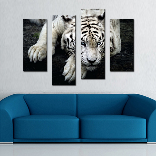 4 piece wall art canvas print pieces wall art tiger painting black and white printings animal picture artworks for home