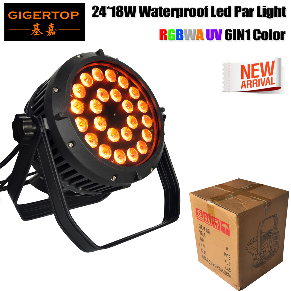 TIPTOP TP-P114 Waterproof 24 18W RGBWA UV 6IN1 Led Par Light DMX512/Auto/Sound/Master-slave Control Smooth Dimmer Led Washer cheap price tiptop plastic black 18x3w rgb single color led par light dual channels dmx512 sound mater slave mode linear dimmer