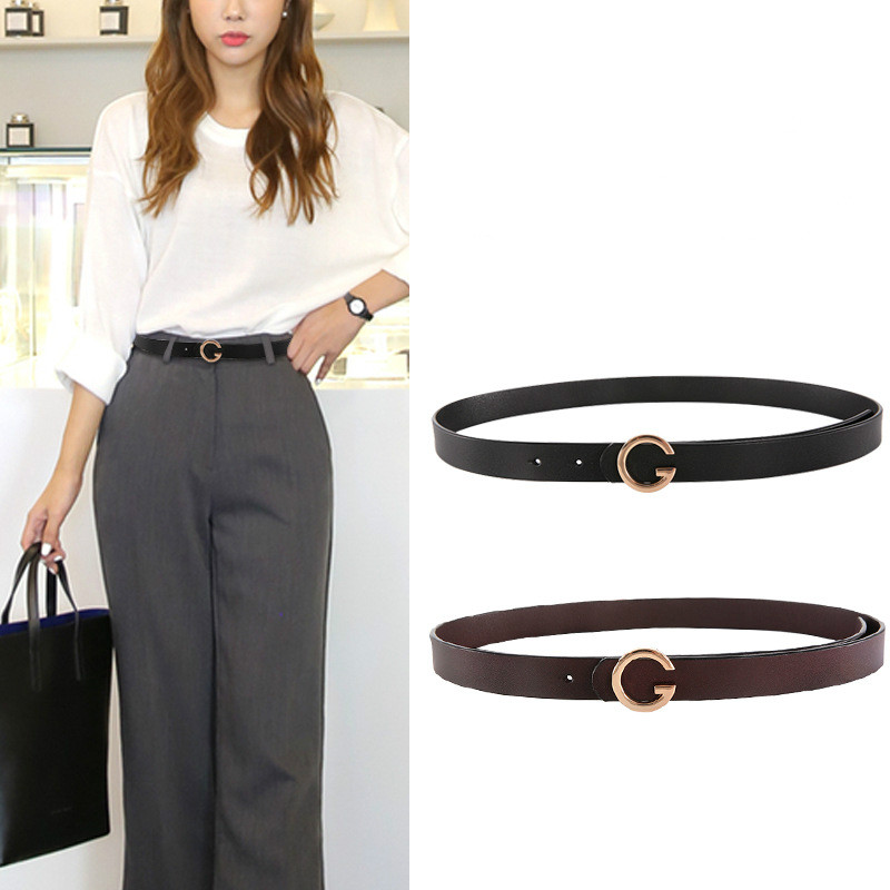 Women Belt Female Cowskin Black Leisure Female Belt Women's Professional Dress Belt Leather Luxury Brand