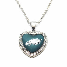 1pcs 20 Inchs Chains Necklace Football Philadelphia Eagles Glass Heart Crystal Pendant Necklace For Women Necklace DIY Jewelry